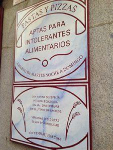 Restaurante para Celíacos en la Cava Baja 19 en la Latina pizzería Madrid Emma y Julia